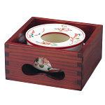 赤絵灰皿 (中) 木枠付セット [W15109]