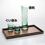 硝子・竹型ぐい呑み (グリーン) [W24756]