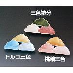 桃釉三色松型皿 (強化) [W26908]