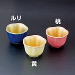 内金彩花型小付 桃 [W26918]