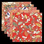 友禅和紙 赤絵・5寸 100枚 (各20枚x5柄) [W64209]