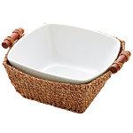 陶器 白 篭付 角丸鉢 [W25970]